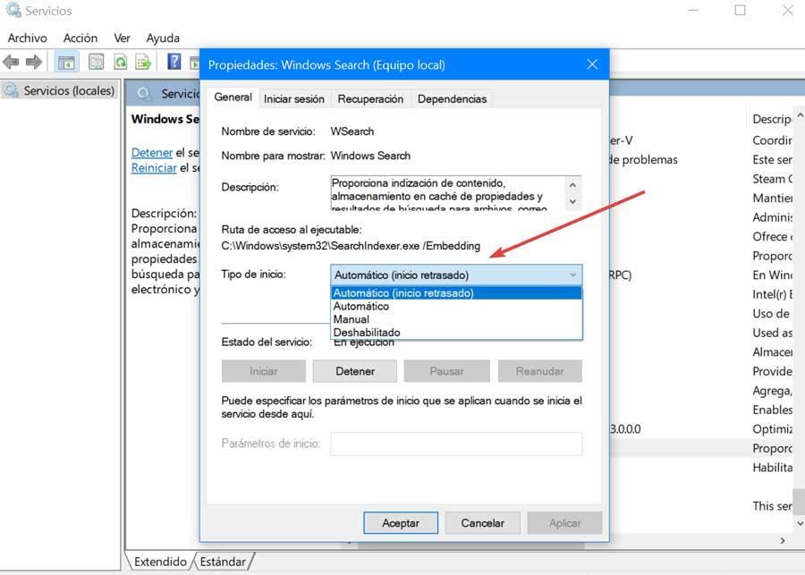 Propiedades Windows Search