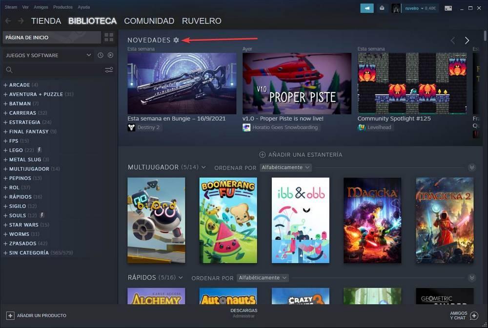 Steam opciones novedades
