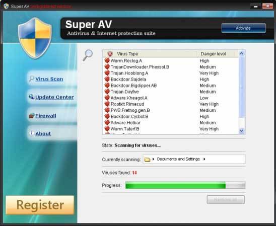 Antivirus Super AV Falso