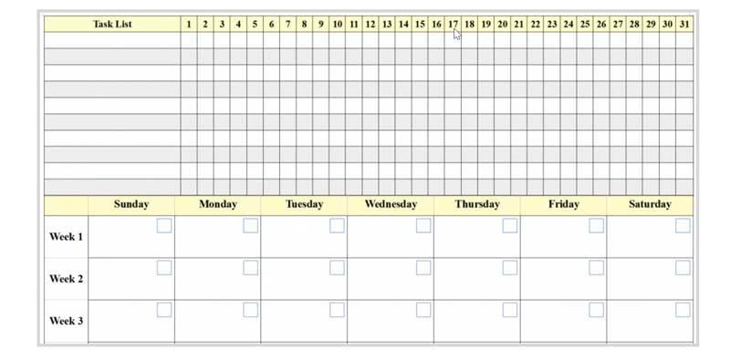 Task List Table