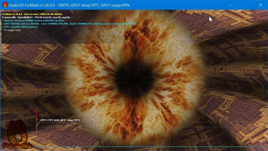 Test de GPU con FurMark