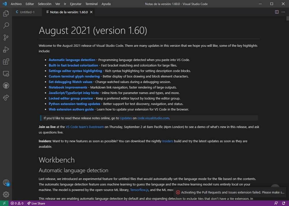 Visual Studio Code 1.60 Changelog