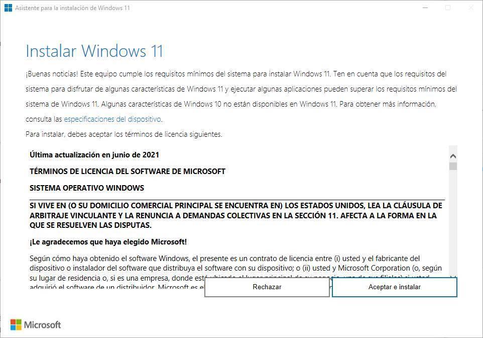 Asistente actualización Windows 11