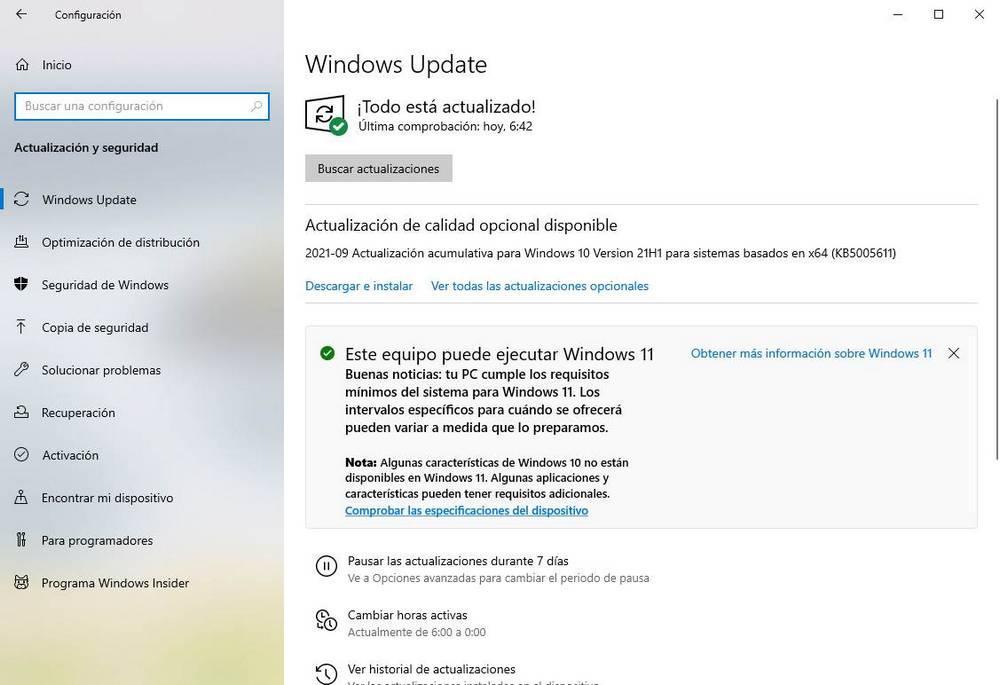 Aviso disponible Windows 11