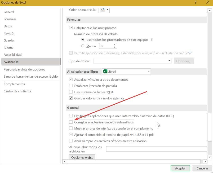 Consultar al actualizar vínculos automáticamente en Excel