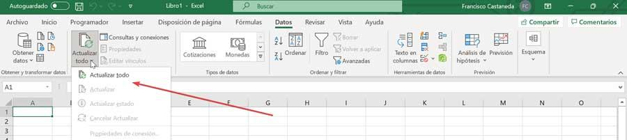 Excel actualizar todo