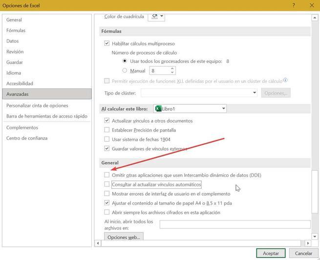 Excel omitir otras aplicaciones que usen Intercambio dinámico de datos